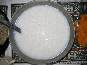 Easting cooked rice