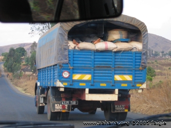 Rice in a truck in Madagascar transported to town