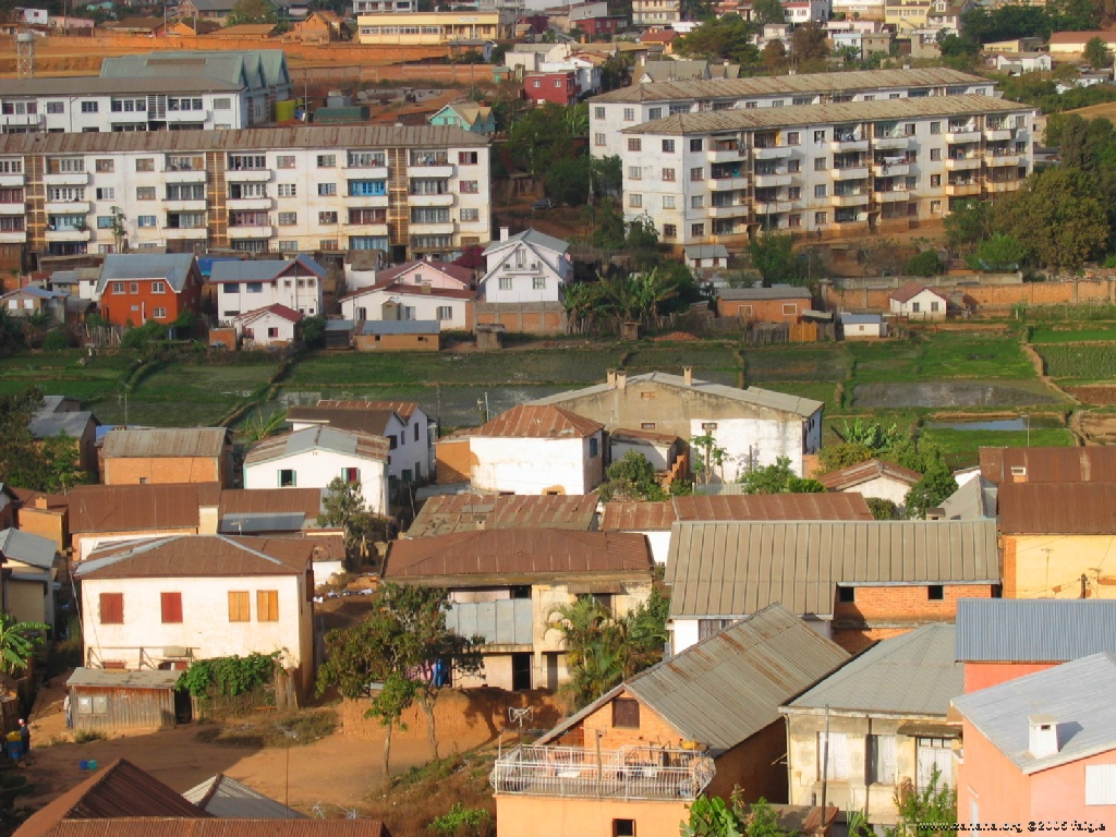 Rice paddy in the midle of town in Antananarivo madagascar