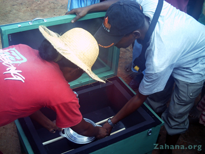 solar box cooker at zahana's school in MAdagascar