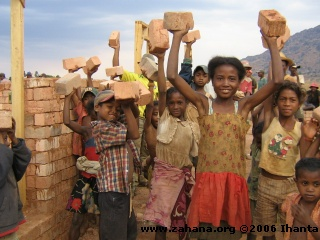 Bricks for the new school in Fiadanana Madagascar