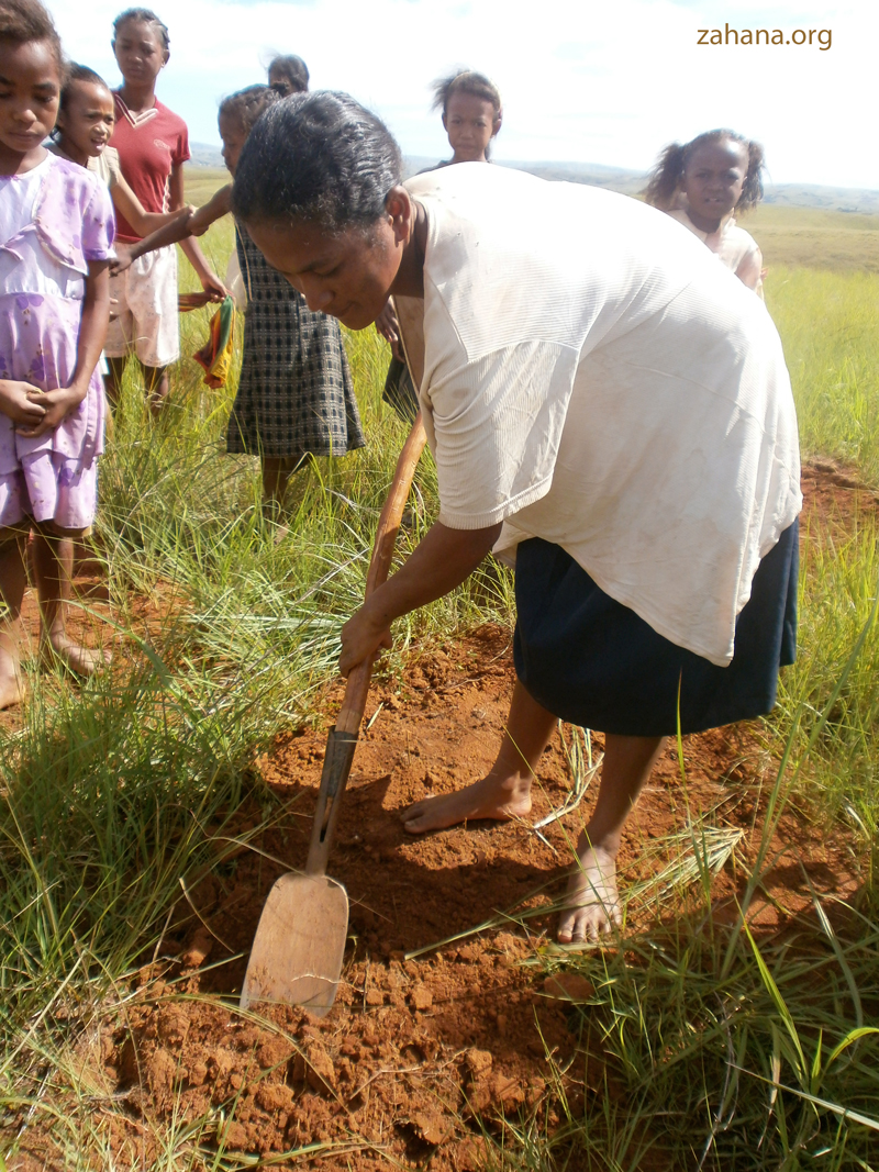 woman planting a tree in a rural village in Madagascar zahana.org